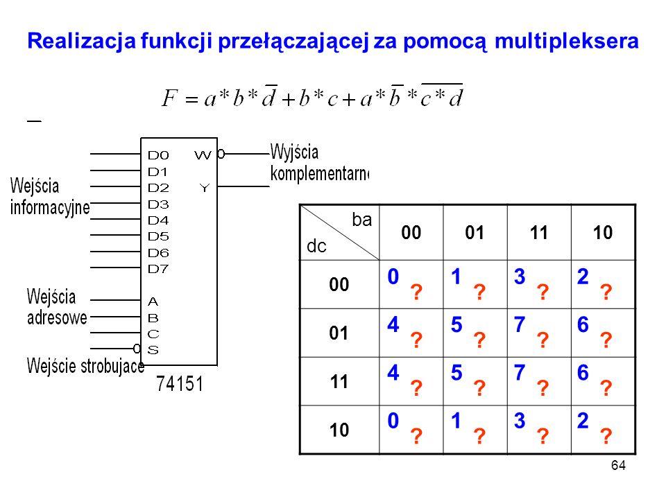 64 ba dc 00011110 00 01 11 10 Realizacja funkcji przełączającej za pomocą multipleksera 0132 4576 0132 4576 ???? ???? ???? ????