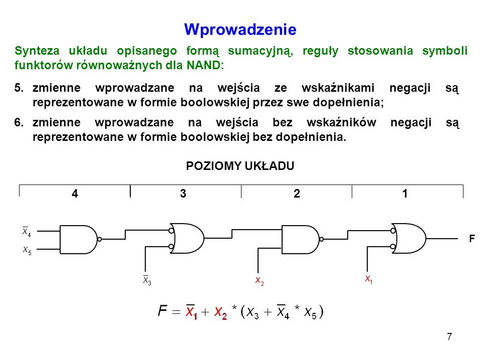 7 Wprowadzenie 5.zmienne wprowadzane na wejścia ze wskaźnikami negacji są reprezentowane w formie boolowskiej przez swe dopełnienia; Synteza układu op