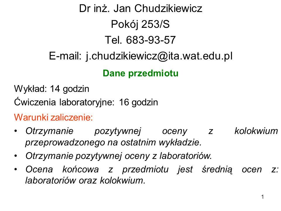 1 Dr inż. Jan Chudzikiewicz Pokój 253/S Tel. 683-93-57 E-mail: j.chudzikiewicz@ita.wat.edu.pl Dane przedmiotu Wykład: 14 godzin Ćwiczenia laboratoryjn