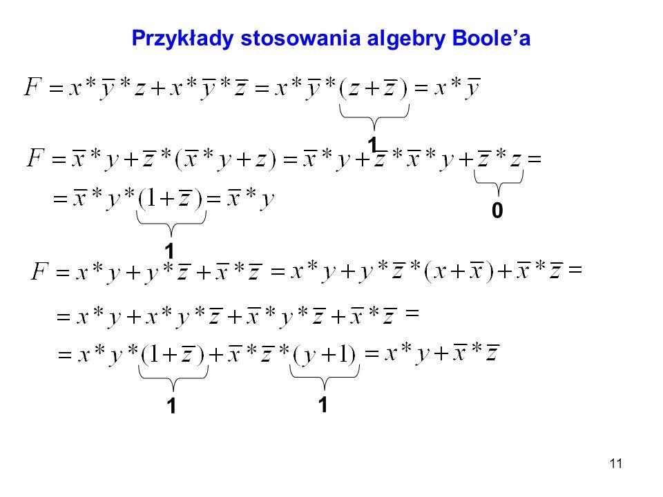 11 Przykłady stosowania algebry Boolea 101 1 1