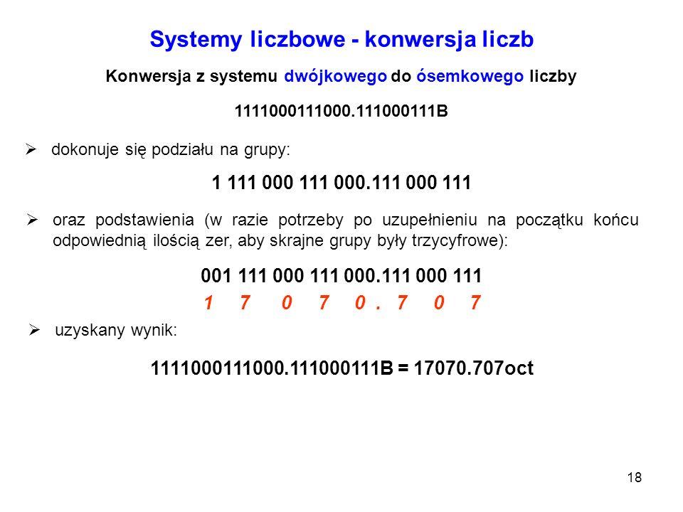 18 Systemy liczbowe - konwersja liczb Konwersja z systemu dwójkowego do ósemkowego liczby 1111000111000.111000111B dokonuje się podziału na grupy: 1 1