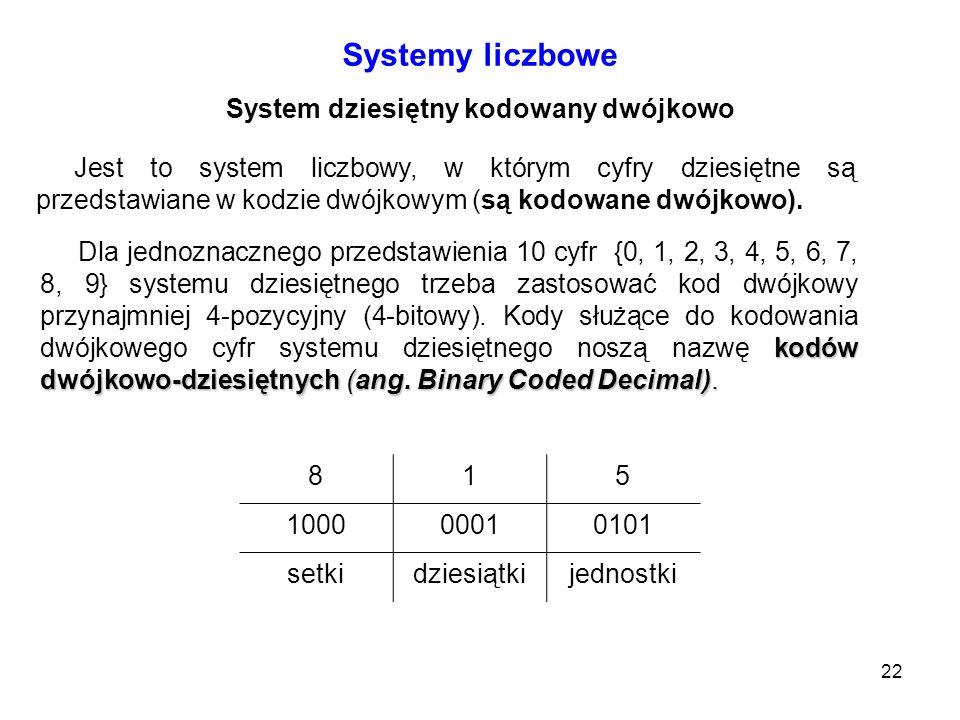 22 Systemy liczbowe System dziesiętny kodowany dwójkowo Jest to system liczbowy, w którym cyfry dziesiętne są przedstawiane w kodzie dwójkowym (są kod