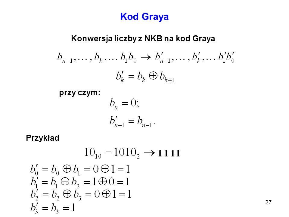 27 Kod Graya Konwersja liczby z NKB na kod Graya przy czym: Przykład 1111