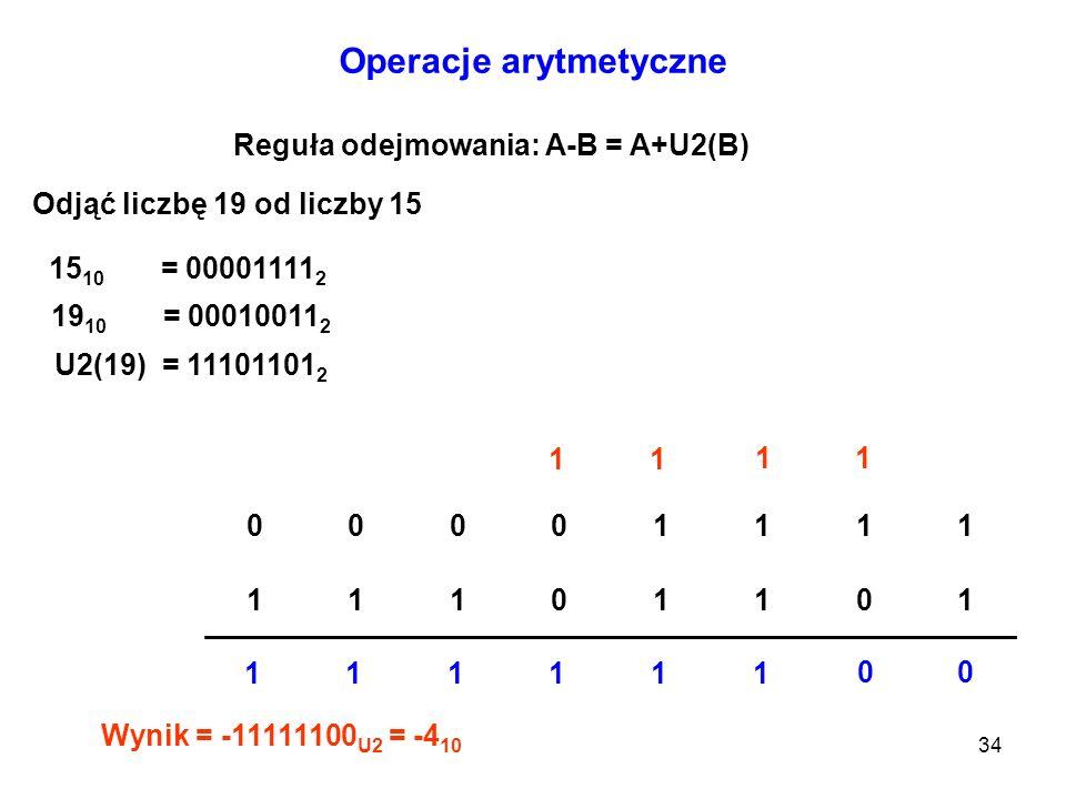 34 Operacje arytmetyczne Reguła odejmowania: A-B = A+U2(B) Odjąć liczbę 19 od liczby 15 15 10 = 00001111 2 19 10 = 00010011 2 U2(19) = 11101101 2 0000