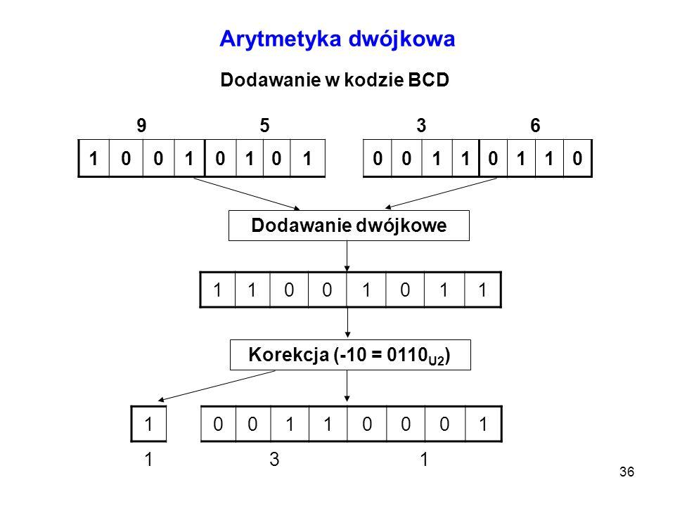 36 Arytmetyka dwójkowa Dodawanie w kodzie BCD 9536 1001010100110110 Dodawanie dwójkowe 11001011 Korekcja (-10 = 0110 U2 ) 100110001 131
