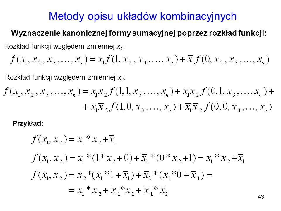 43 Metody opisu układów kombinacyjnych Rozkład funkcji względem zmiennej x 2 : Rozkład funkcji względem zmiennej x 1 : Wyznaczenie kanonicznej formy s