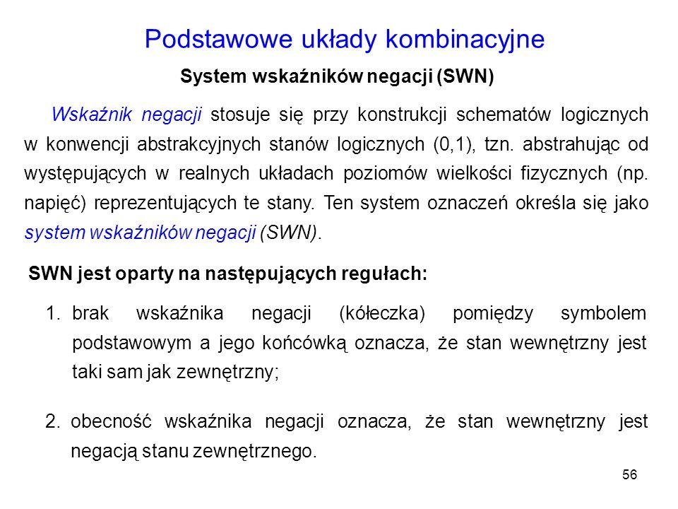 56 Podstawowe układy kombinacyjne System wskaźników negacji (SWN) Wskaźnik negacji stosuje się przy konstrukcji schematów logicznych w konwencji abstr