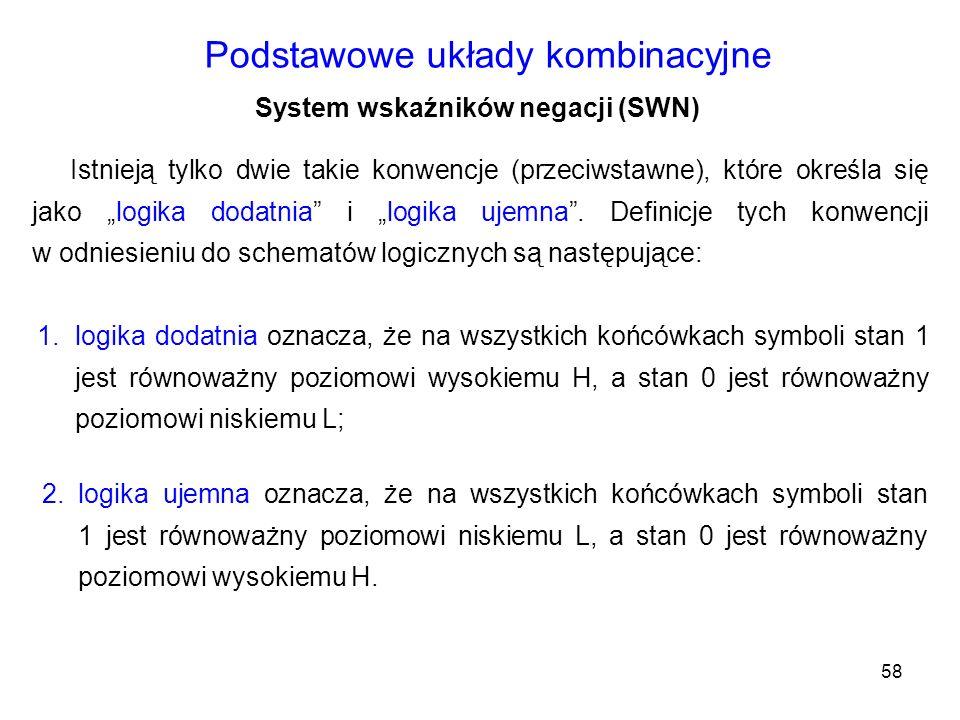 58 Podstawowe układy kombinacyjne System wskaźników negacji (SWN) Istnieją tylko dwie takie konwencje (przeciwstawne), które określa się jako logika d