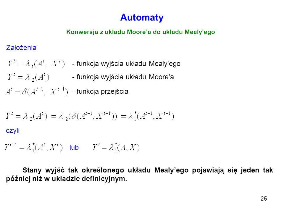 25 Automaty Konwersja z układu Moorea do układu Mealyego - funkcja wyjścia układu Mealyego - funkcja wyjścia układu Moorea - funkcja przejścia Założen
