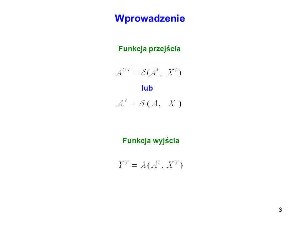 24 Automaty Graf oraz tablice przejść i wyjść opisujące układ Moorea Graf przejść i wyjść Funkcja przejścia Funkcja wyjścia A2A2 A1A1 A3A3 Y2Y2 A3A3 A1A1 A2A2 Y2Y2 A1A1 A3A3 A2A2 Y1Y1 X={X 1, X 2, X 2 }; A={A 1, A 2, A 3 }; Y={Y 1,Y 2 } A 2,Y 2 A 1,Y 2 A 3,Y 1 A 1,Y 2 A 2,Y 2 A 1,Y 2 A 3,Y 1 A 2,Y 2 X1X1 A2A2 A1A1 Y2Y2 X3X3 X3X3 X1X1 X1X1 X2X2 A3A3 Y2Y2 X2X2 Y1Y1 X3X3 X2X2 Tablica przejść i wyjść układu Moorea A1A1 A2A2 A3A3 X1X1 X2X2 A X3X3 Y Tablica przejść i wyjść równoważnego układu Mealyego A1A1 A2A2 A3A3 X1X1 X2X2 A, Y X3X3