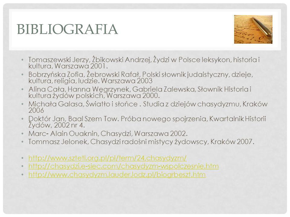 BIBLIOGRAFIA Tomaszewski Jerzy, Żbikowski Andrzej, Żydzi w Polsce leksykon, historia i kultura, Warszawa 2001. Bobrzyńska Zofia, Żebrowski Rafał, Pols
