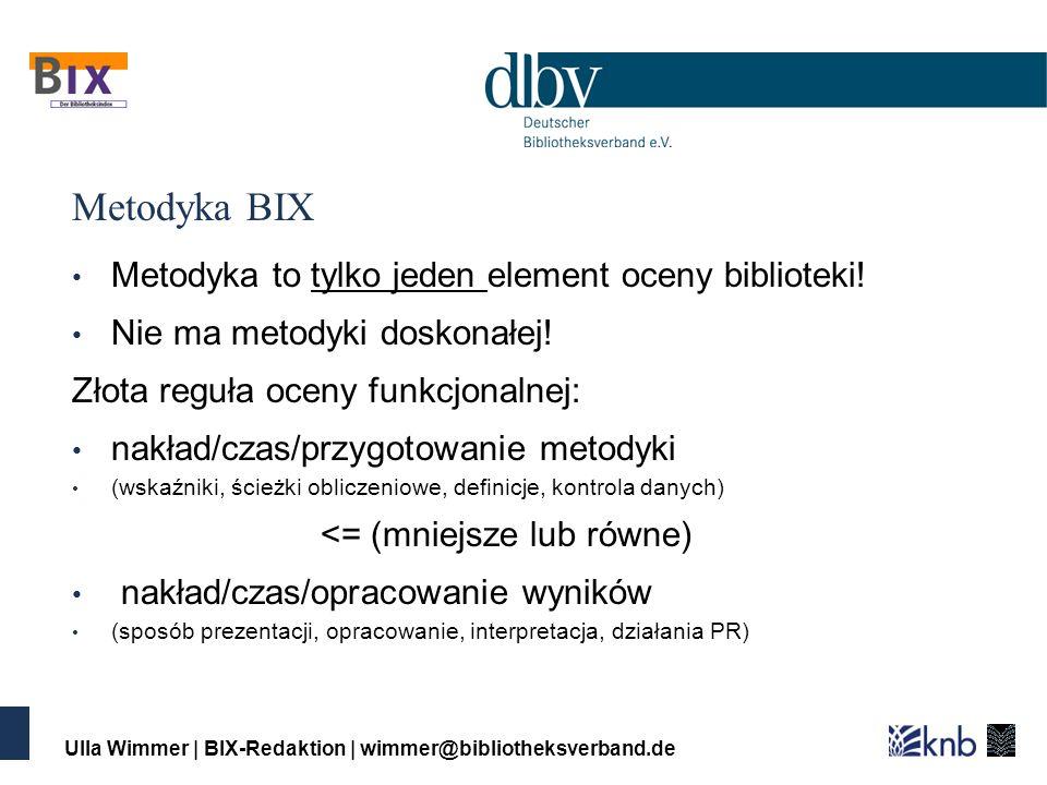 Ulla Wimmer | BIX-Redaktion | wimmer@bibliotheksverband.de Metodyka BIX Metodyka to tylko jeden element oceny biblioteki.