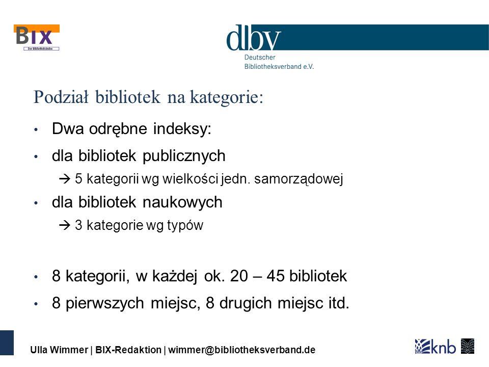 Ulla Wimmer | BIX-Redaktion | wimmer@bibliotheksverband.de Podział bibliotek na kategorie: Dwa odrębne indeksy: dla bibliotek publicznych 5 kategorii wg wielkości jedn.