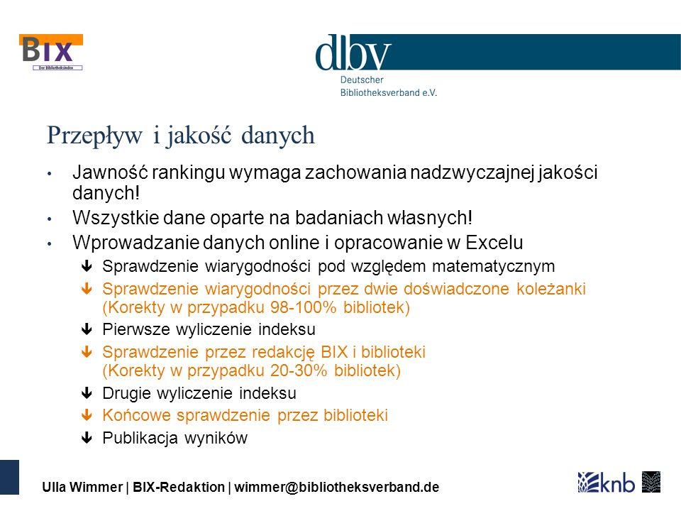 Ulla Wimmer | BIX-Redaktion | wimmer@bibliotheksverband.de Przepływ i jakość danych Jawność rankingu wymaga zachowania nadzwyczajnej jakości danych.