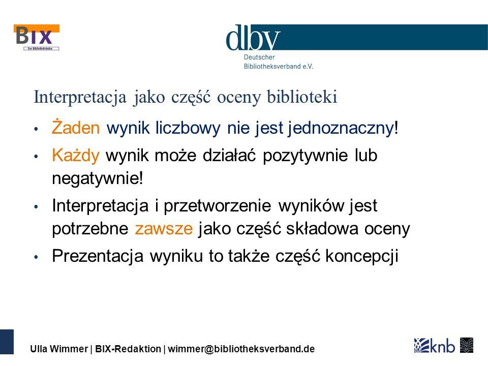 Ulla Wimmer | BIX-Redaktion | wimmer@bibliotheksverband.de Interpretacja jako część oceny biblioteki Żaden wynik liczbowy nie jest jednoznaczny.