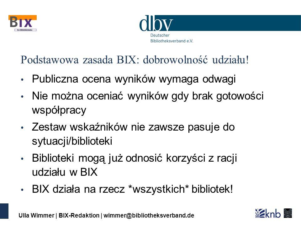 Ulla Wimmer | BIX-Redaktion | wimmer@bibliotheksverband.de Podstawowa zasada BIX: dobrowolność udziału.