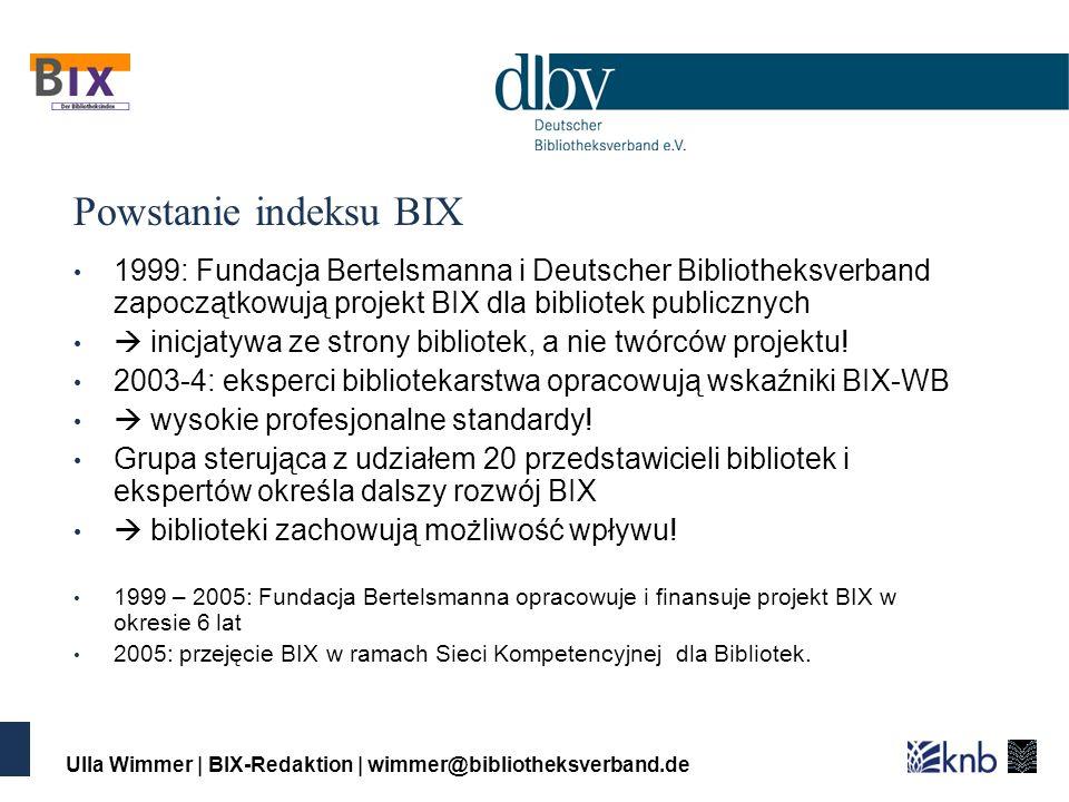 Ulla Wimmer | BIX-Redaktion | wimmer@bibliotheksverband.de Powstanie indeksu BIX 1999: Fundacja Bertelsmanna i Deutscher Bibliotheksverband zapoczątkowują projekt BIX dla bibliotek publicznych inicjatywa ze strony bibliotek, a nie twórców projektu.