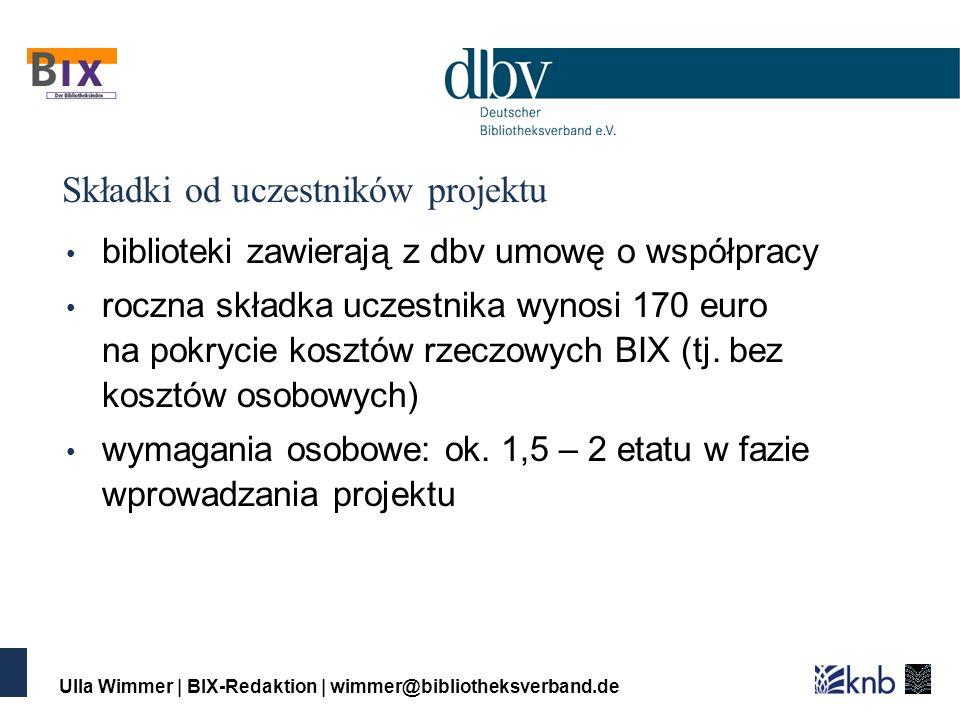 Ulla Wimmer | BIX-Redaktion | wimmer@bibliotheksverband.de Składki od uczestników projektu biblioteki zawierają z dbv umowę o współpracy roczna składka uczestnika wynosi 170 euro na pokrycie kosztów rzeczowych BIX (tj.