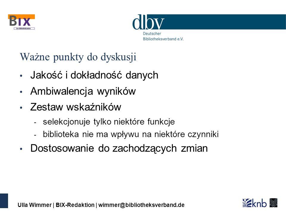 Ulla Wimmer | BIX-Redaktion | wimmer@bibliotheksverband.de Ważne punkty do dyskusji Jakość i dokładność danych Ambiwalencja wyników Zestaw wskaźników - selekcjonuje tylko niektóre funkcje - biblioteka nie ma wpływu na niektóre czynniki Dostosowanie do zachodzących zmian