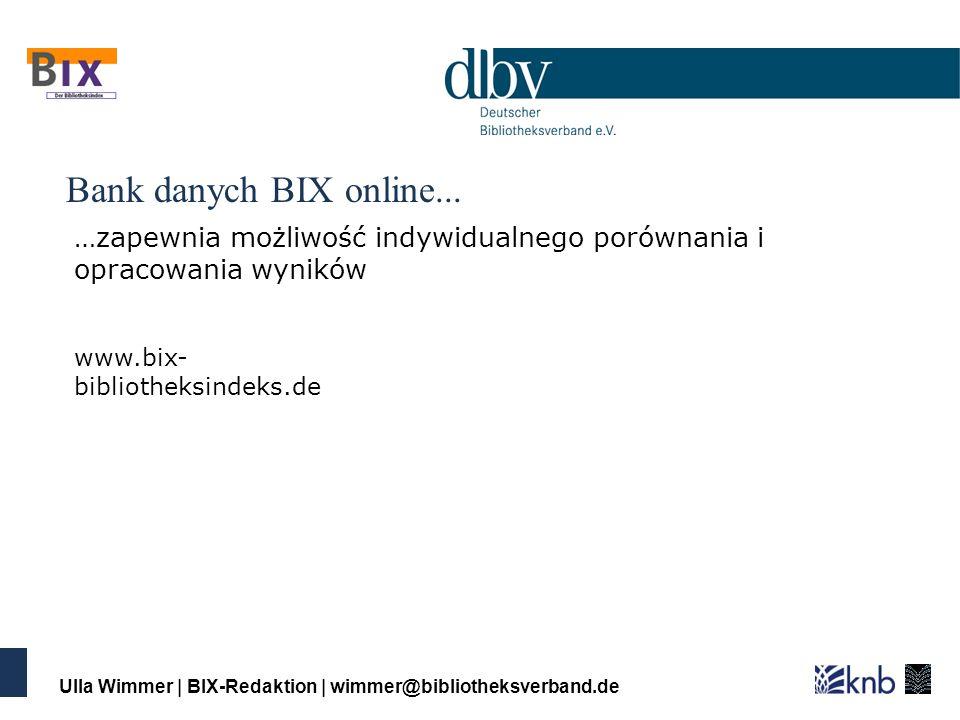 Ulla Wimmer | BIX-Redaktion | wimmer@bibliotheksverband.de Bank danych BIX online...
