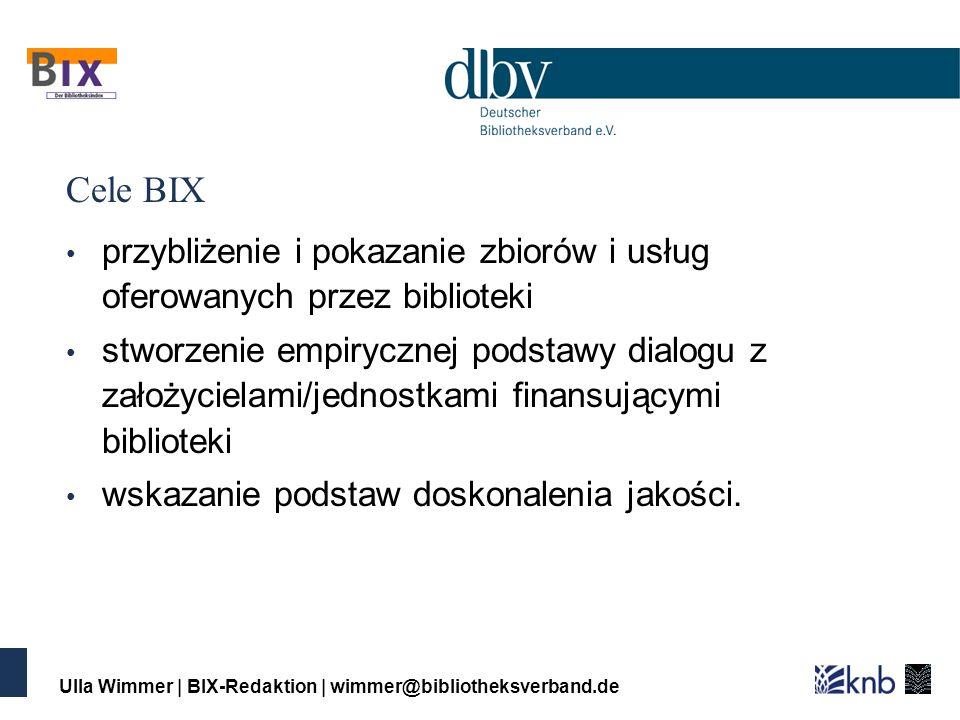 Ulla Wimmer | BIX-Redaktion | wimmer@bibliotheksverband.de Cele BIX przybliżenie i pokazanie zbiorów i usług oferowanych przez biblioteki stworzenie empirycznej podstawy dialogu z założycielami/jednostkami finansującymi biblioteki wskazanie podstaw doskonalenia jakości.