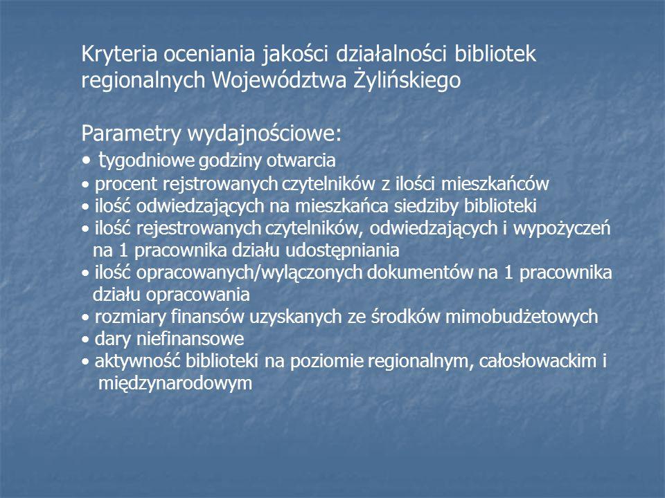Kryteria oceniania jakości działalności bibliotek regionalnych Województwa Żylińskiego Parametry wydajnościowe: t ygodniowe godziny otwarcia procent rejstrowanych czytelników z ilości mieszkańców ilość odwiedzających na mieszkańca siedziby biblioteki ilość rejestrowanych czytelników, odwiedzających i wypożyczeń na 1 pracownika działu udostępniania ilość opracowanych/wylączonych dokumentów na 1 pracownika działu opracowania rozmiary finansów uzyskanych ze środków mimobudżetowych dary niefinansowe aktywność biblioteki na poziomie regionalnym, całosłowackim i międzynarodowym