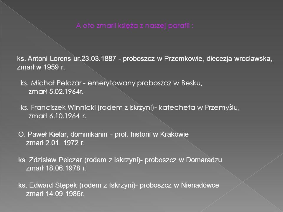 A oto zmarli księża z naszej parafii : ks. Antoni Lorens ur.23.03.1887 - proboszcz w Przemkowie, diecezja wrocławska, zmarł w 1959 r. ks. Michał Pelcz