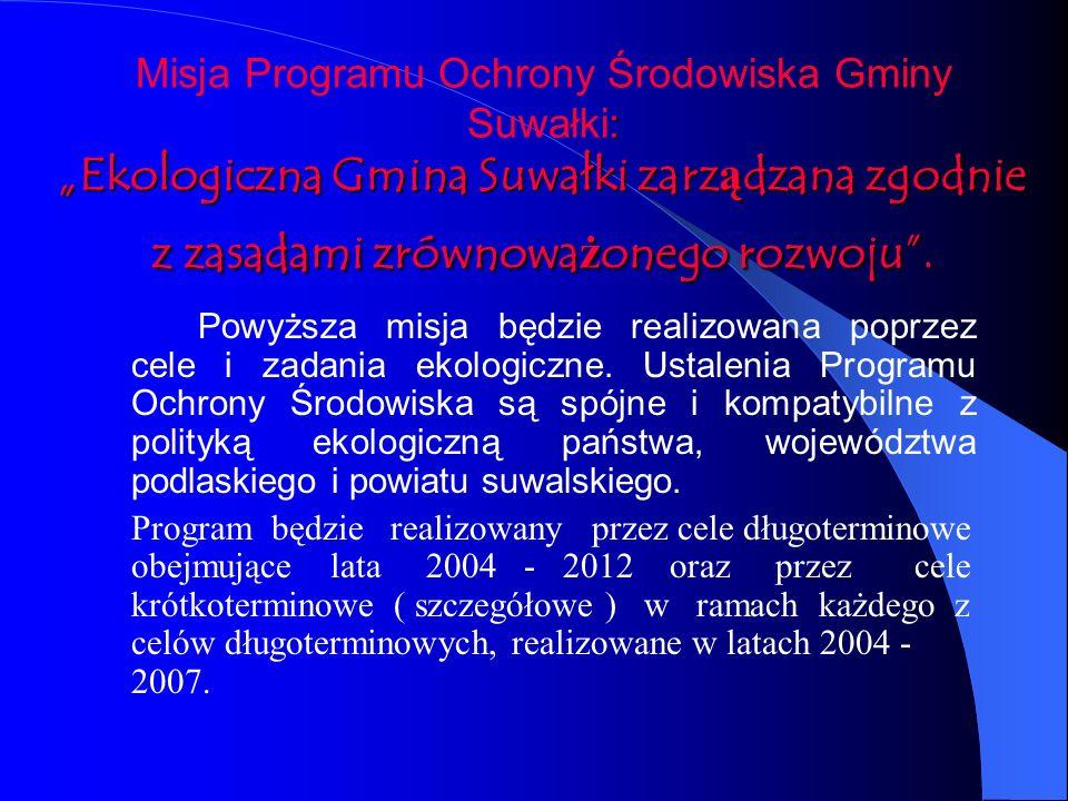 : Ekologiczna Gmina Suwałki zarządzana zgodnie z zasadami zrównoważonego rozwoju. Misja Programu Ochrony Środowiska Gminy Suwałki: Ekologiczna Gmina S