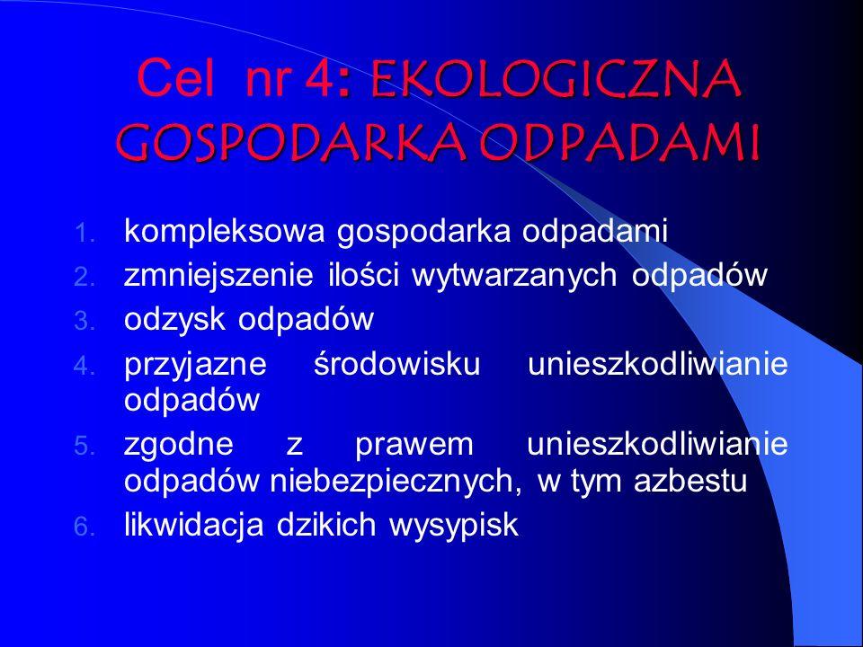: EKOLOGICZNA GOSPODARKA ODPADAMI Cel nr 4: EKOLOGICZNA GOSPODARKA ODPADAMI 1. kompleksowa gospodarka odpadami 2. zmniejszenie ilości wytwarzanych odp