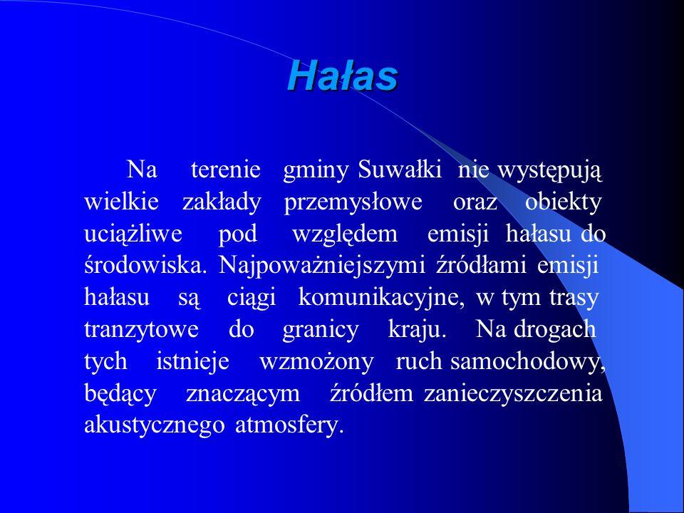 Hałas Na terenie gminy Suwałki nie występują wielkie zakłady przemysłowe oraz obiekty uciążliwe pod względem emisji hałasu do środowiska. Najpoważniej