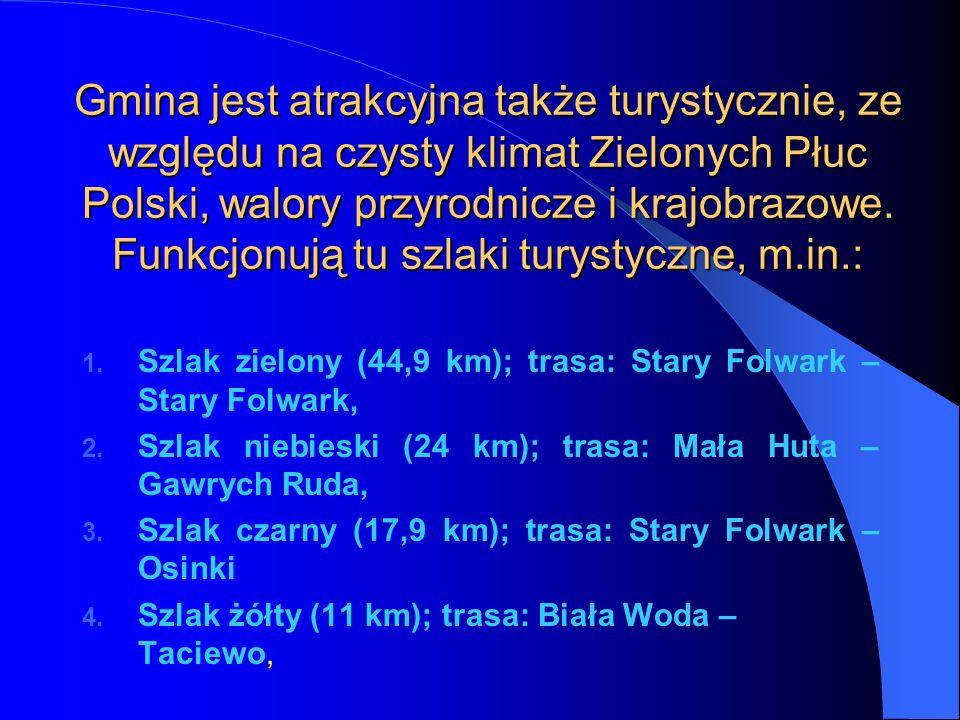 Gmina jest atrakcyjna także turystycznie, ze względu na czysty klimat Zielonych Płuc Polski, walory przyrodnicze i krajobrazowe. Funkcjonują tu szlaki