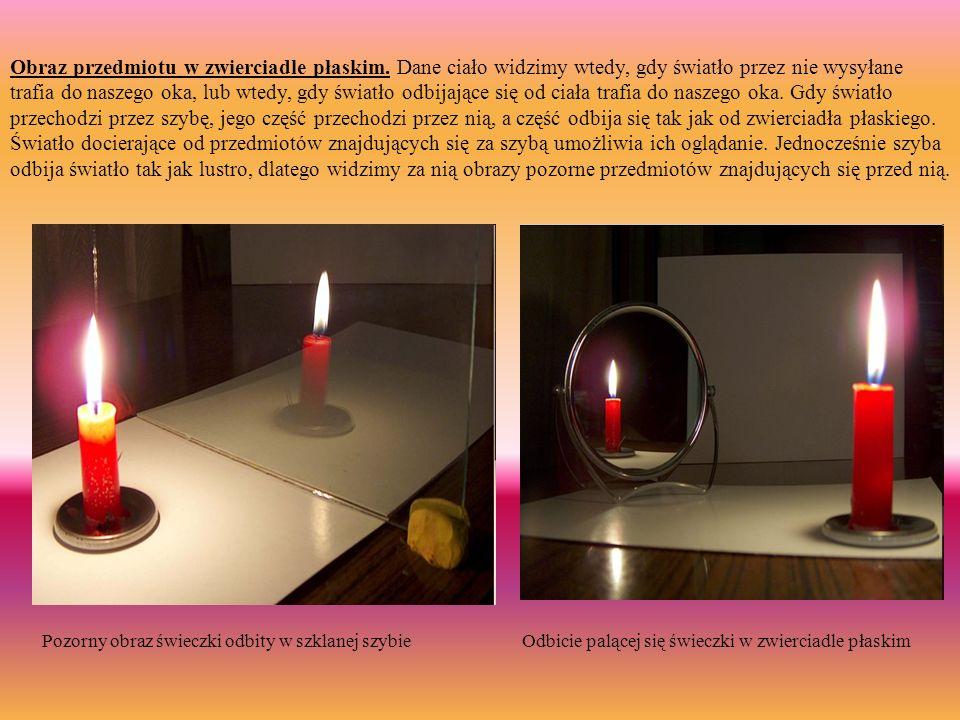 Obraz przedmiotu w zwierciadle płaskim. Dane ciało widzimy wtedy, gdy światło przez nie wysyłane trafia do naszego oka, lub wtedy, gdy światło odbijaj