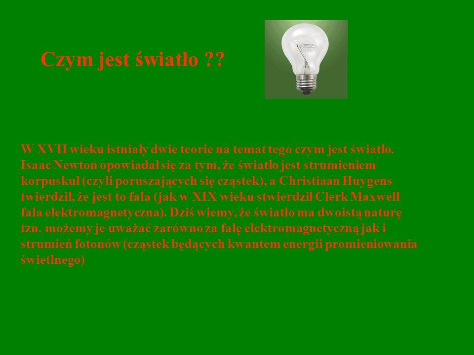 Czym jest światło ?? W XVII wieku istniały dwie teorie na temat tego czym jest światło. Isaac Newton opowiadał się za tym, że światło jest strumieniem