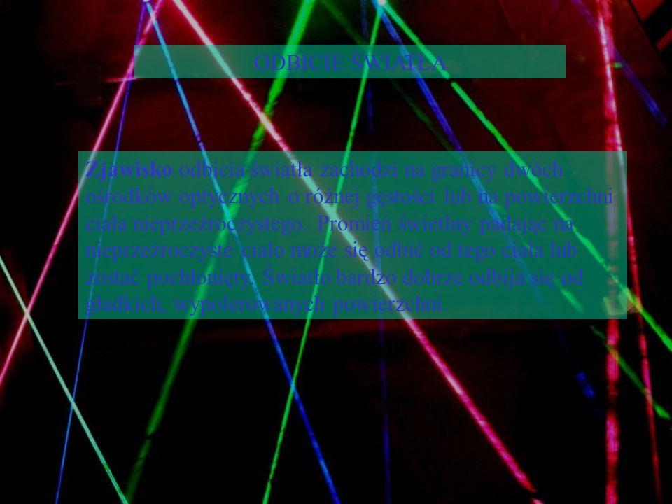 ODBICIE ŚWIATŁA Zjawisko odbicia światła zachodzi na granicy dwóch ośrodków optycznych o różnej gęstości lub na powierzchni ciała nieprzeźroczystego.