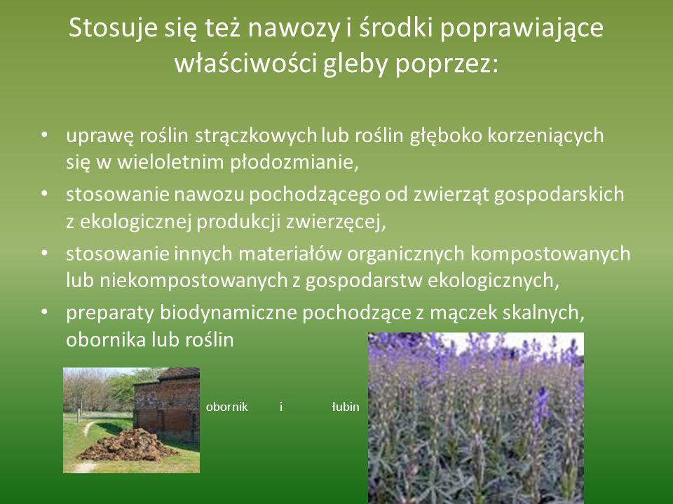 Stosuje się też nawozy i środki poprawiające właściwości gleby poprzez: uprawę roślin strączkowych lub roślin głęboko korzeniących się w wieloletnim p