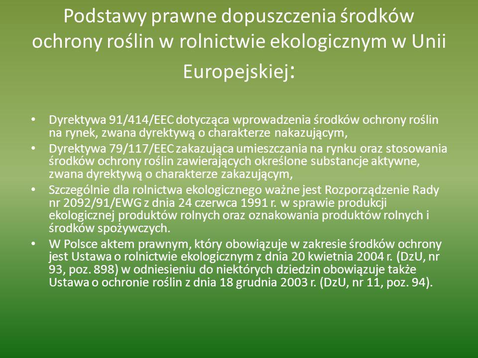 Podstawy prawne dopuszczenia środków ochrony roślin w rolnictwie ekologicznym w Unii Europejskiej : Dyrektywa 91/414/EEC dotycząca wprowadzenia środkó