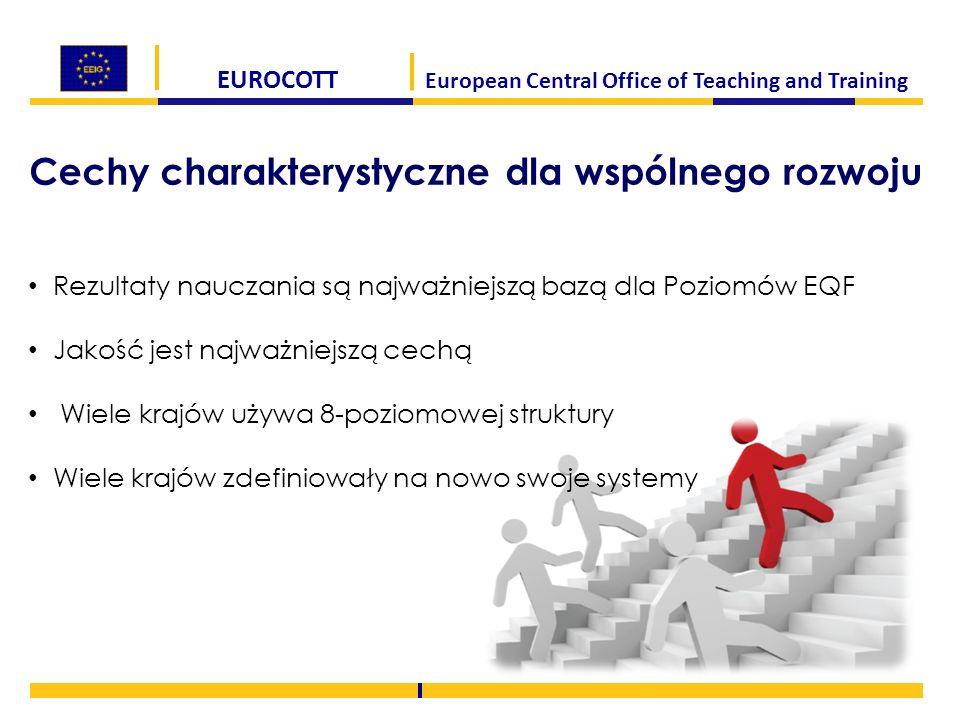 EUROCOTT European Central Office of Teaching and Training Cechy charakterystyczne dla wspólnego rozwoju Rezultaty nauczania są najważniejszą bazą dla