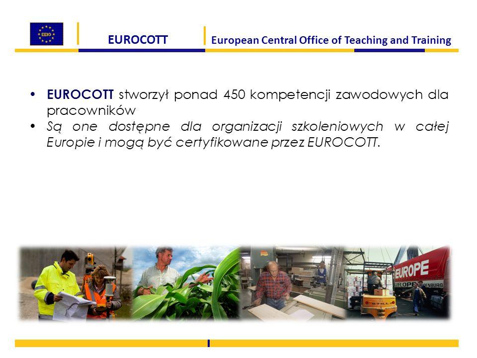 EUROCOTT European Central Office of Teaching and Training EUROCOTT stworzył ponad 450 kompetencji zawodowych dla pracowników Są one dostępne dla organ