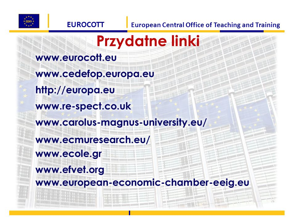 EUROCOTT European Central Office of Teaching and Training Przydatne linki