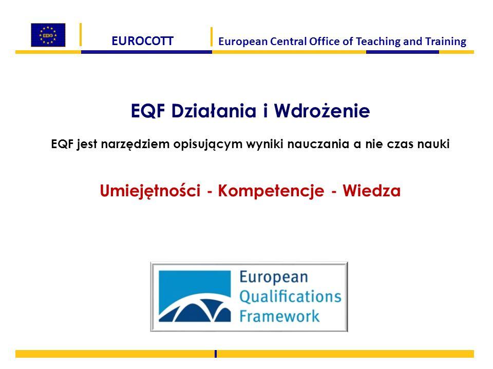EUROCOTT European Central Office of Teaching and Training EQF Działania i Wdrożenie EQF jest narzędziem opisującym wyniki nauczania a nie czas nauki U