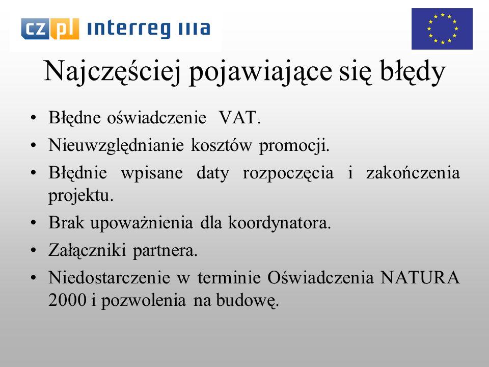 Najczęściej pojawiające się błędy Błędne oświadczenie VAT.