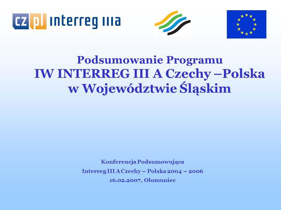 Program IW INTERREG III A Czechy-Polska (obszar wsparcia i wartość dofinansowania z EFRR w Woj.