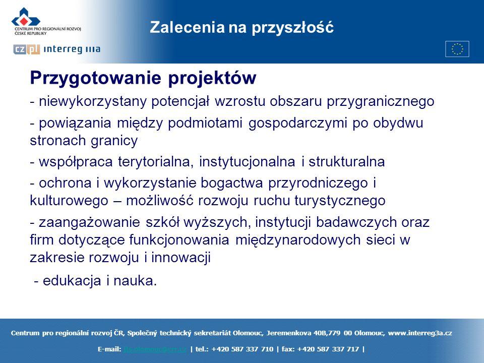 Centrum pro regionální rozvoj ČR, Společný technický sekretariát Olomouc, Jeremenkova 40B,779 00 Olomouc, www.interreg3a.cz E-mail: jts.olomouc@crr.cz | tel.: +420 587 337 710 | fax: +420 587 337 717 |jts.olomouc@crr.cz Zalecenia na przyszłość Przygotowanie projektów - niewykorzystany potencjał wzrostu obszaru przygranicznego - powiązania między podmiotami gospodarczymi po obydwu stronach granicy - współpraca terytorialna, instytucjonalna i strukturalna - ochrona i wykorzystanie bogactwa przyrodniczego i kulturowego – możliwość rozwoju ruchu turystycznego - zaangażowanie szkół wyższych, instytucji badawczych oraz firm dotyczące funkcjonowania międzynarodowych sieci w zakresie rozwoju i innowacji - edukacja i nauka.