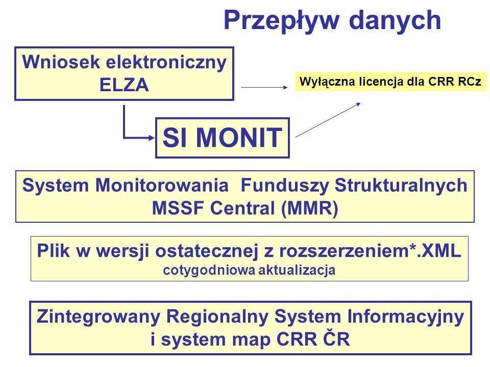 Wniosek elektroniczny ELZA SI MONIT System Monitorowania Funduszy Strukturalnych MSSF Central (MMR) Plik w wersji ostatecznej z rozszerzeniem*.XML cotygodniowa aktualizacja Zintegrowany Regionalny System Informacyjny i system map CRR ČR Wyłączna licencja dla CRR RCz Przepływ danych