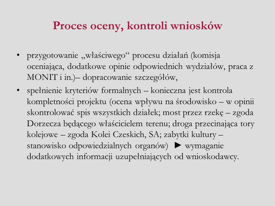 Proces oceny, kontroli wniosków przygotowanie właściwego procesu działań (komisja oceniająca, dodatkowe opinie odpowiednich wydziałów, praca z MONIT i in.)– dopracowanie szczegółów, spełnienie kryteriów formalnych – konieczna jest kontrola kompletności projektu (ocena wpływu na środowisko – w opinii skontrolować spis wszystkich działek; most przez rzekę – zgoda Dorzecza będącego właścicielem terenu; droga przecinająca tory kolejowe – zgoda Kolei Czeskich, SA; zabytki kultury – stanowisko odpowiedzialnych organów) wymaganie dodatkowych informacji uzupełniających od wnioskodawcy.