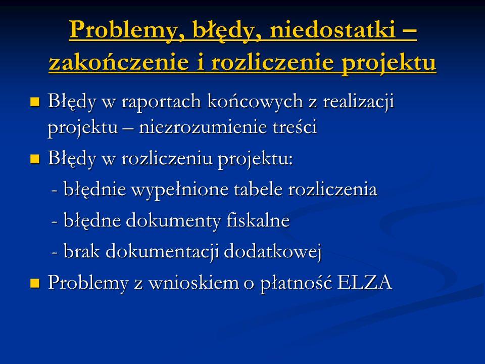 Problemy, błędy, niedostatki – zakończenie i rozliczenie projektu Błędy w raportach końcowych z realizacji projektu – niezrozumienie treści Błędy w raportach końcowych z realizacji projektu – niezrozumienie treści Błędy w rozliczeniu projektu: Błędy w rozliczeniu projektu: - błędnie wypełnione tabele rozliczenia - błędnie wypełnione tabele rozliczenia - błędne dokumenty fiskalne - błędne dokumenty fiskalne - brak dokumentacji dodatkowej - brak dokumentacji dodatkowej Problemy z wnioskiem o płatność ELZA Problemy z wnioskiem o płatność ELZA
