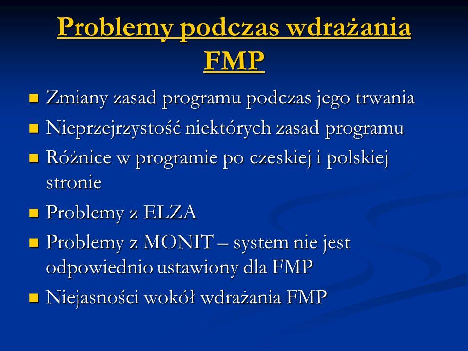 Problemy podczas wdrażania FMP Zmiany zasad programu podczas jego trwania Zmiany zasad programu podczas jego trwania Nieprzejrzystość niektórych zasad programu Nieprzejrzystość niektórych zasad programu Różnice w programie po czeskiej i polskiej stronie Różnice w programie po czeskiej i polskiej stronie Problemy z ELZA Problemy z ELZA Problemy z MONIT – system nie jest odpowiednio ustawiony dla FMP Problemy z MONIT – system nie jest odpowiednio ustawiony dla FMP Niejasności wokół wdrażania FMP Niejasności wokół wdrażania FMP