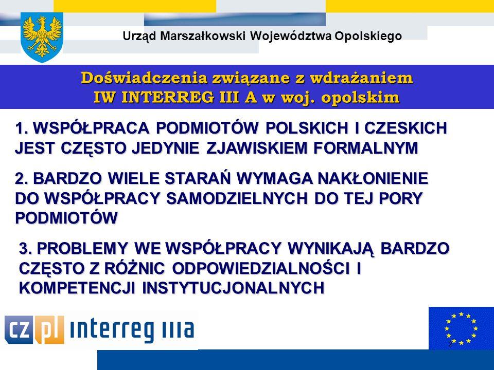 Urząd Marszałkowski Województwa Opolskiego 2 Doświadczenia związane z wdrażaniem IW INTERREG III A w woj.