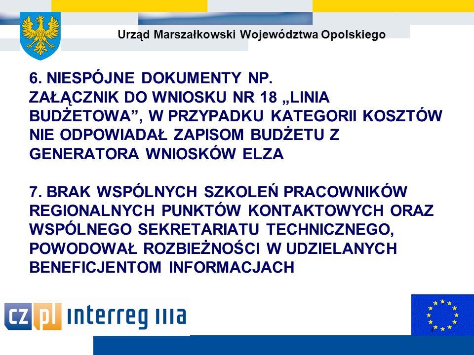 Urząd Marszałkowski Województwa Opolskiego 5 Uwarunkowania wdrażania PO WT 1.
