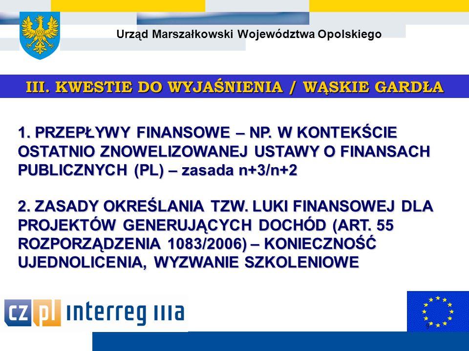 Urząd Marszałkowski Województwa Opolskiego 9 III.KWESTIE DO WYJAŚNIENIA / WĄSKIE GARDŁA 1.